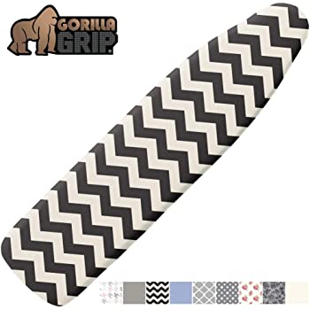 Gorilla Grip Reflective Silicone Ironing Board Cover, 15x54, Fits Large and Standard Boards, Pads Resist Scorching and Staining, Elastic Edge, Thick Padding, No Fasteners Needed, Chevron Black Linen