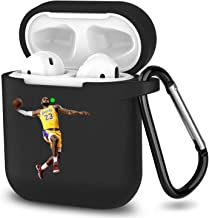 Jiantes AirPods Case LBJ Soft Silicone Case Protective Shockproof Upgraded Cover with Carabiner for AirPods 2 and 1