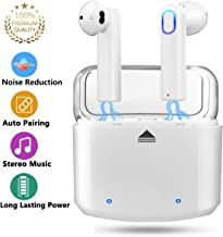 Truly Wireless Earbuds, True Wireless Headphones, TWS Wireless Earbuds, 5.0 True Wireless Bluetooth Earbuds Noise Canceling HD Stereo Sound, Sweatproof with Mic for Office/Driving/Running (White)