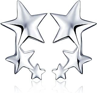 Pendientes Pequeños de Plata de ley 925 Estrellas para Mujer, Chicas