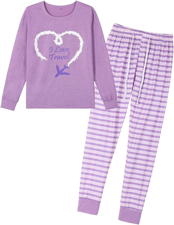 VENTELAN Women's Pajamas Long Sleeve Sleepwear Soft 2 Piece Lounge Pajama Set