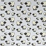 Baumwolljersey Schafe helles graublau - Preis gilt für 0,5