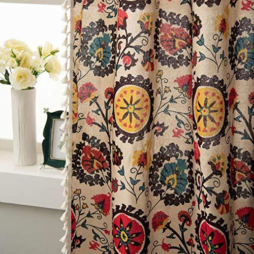 Amusingtao Panel de cortina Living om Hotel Home Decor Colgante Oscurecimiento Sombreado Dormitorio Ventana Suave Floral Impreso Estilo País Con Borlas Algodón Ropa (140 260 cmRod)