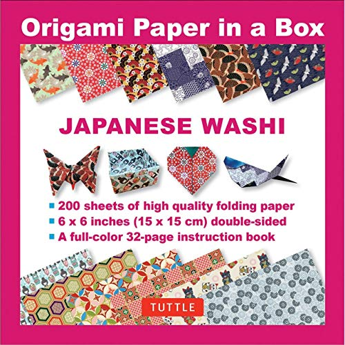 Origami Paper in a Box - Japanese Washi Patterns 200 sheets: 6x6 Inch High-Quality Origami Paper and 32-page Instructional Book