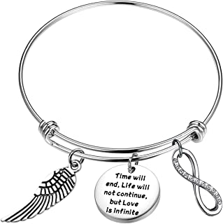 KUIYAI Infinite Love Bracelet Time Will End Life Will Not Continue But Love is Infinite Bracelet Memorial Bracelet with Angel Wing Charm