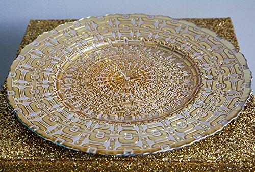 Assiette de présentation en verre Motif aztèque Doré/blanc 32 cm de diamètre
