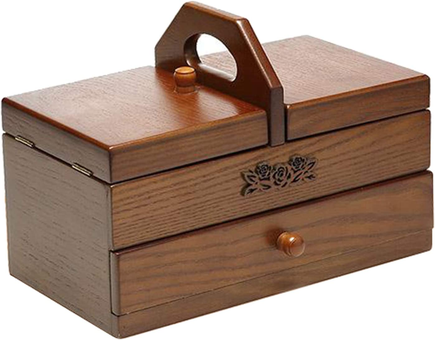 oshhni Product Expand Case Wooden Max 42% OFF Sewing Box Jewelry Craft Basket Storag