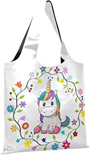CaTaKu Grand sac de courses en nylon résistant et réutilisable avec motif de licorne arc-en-ciel - En forme de licorne - I...