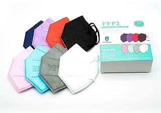 10x Mascarillas FFP2 NR Homologadas y Certificadas CE - Surtido de colores - Embolsado individual para mayor higiene y com...