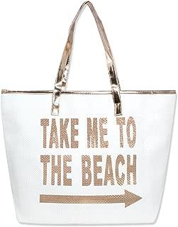 Me Plus Women Metallic Trimmed Large Beach Tote Bag Zipper Closure Inner Pocket (5 Styles) (Take Me-Rosegold094)