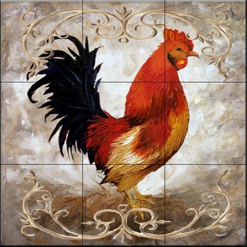 Cerámica de azulejos - Gallo I - por Malenda Trick - Cocina peto / Baño de ducha