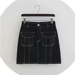 2018 Autumn Women Black Denim Skirt High Waist Mini Jean Skirt Button Fly Slim A Line Streetwear