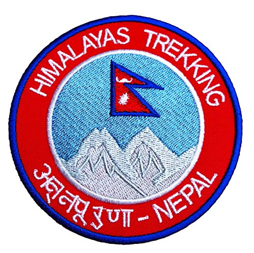 Premier Patches Himalayas Trekking Nepal Patch 9cm Embroidered Iron on Badge Mountaineering Climbing Applique Travel Souvenir DIY Bag Backpack T-shirt Jacket Luggage