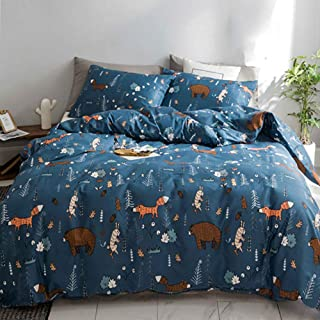 CLOTHKNOW Navy Blue Bear Duvet Cover Sets Queen Woodland Theme Fox Bear Bedding Sets Kids Full Boys Gift Rabbit Animal Forest 100 Cotton 3 Pieces - 1 Duvet Cover with Zipper Closure 2 Pillow Shams