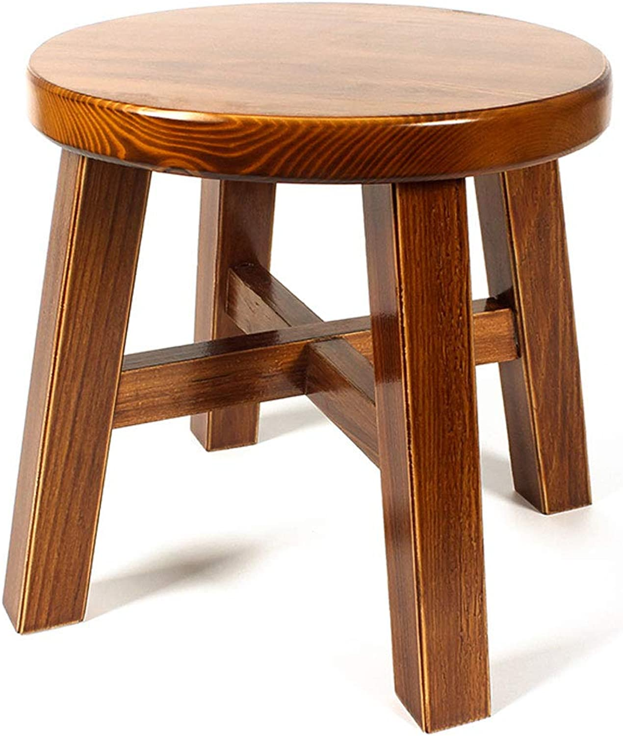 Household Stool Solid Wood Round Solid color Simple Living Room Small Bench V (color   A, Size   L28CMXW28CMXH27CM)