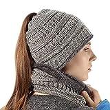 Beanie Tail Warm Knit Messy High Bun Ponytail Cap Scarf for Girls Light Gray Mix