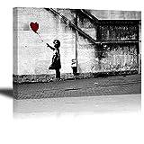 Banksy Impression sur toile de Fille avec Ballon Rouge, PIY painting Art Graffiti HD Image Peinture Tableaux de la Mur Imperméable prete à poser Décor Moderne pour la Salle Chamber Cadeau 30x40cm