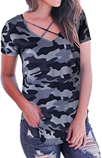 Ladies Summer New Camouflage Print V-Neck Short Sleeve T-Shirt Cross-Bound Bandwidth Loose Top