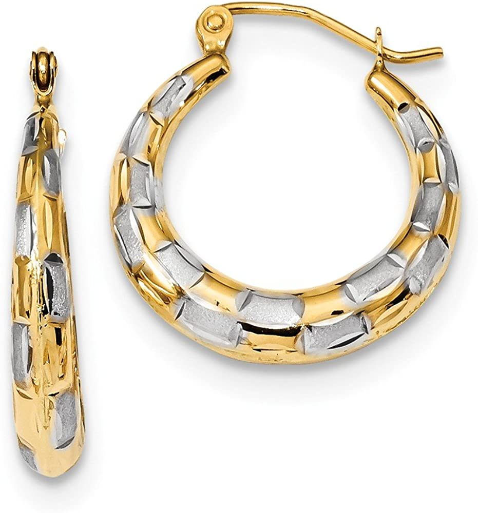 14k Rhodium Seattle Mall Polished Limited time cheap sale Satin C Hoop Earrings D
