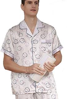 Men's 100% Pure Silk Pyjamas, Printing Button-Down Long Pants Pajamas Set, Loungewear Short Sleeved Pjs Set Nightwear Slee...