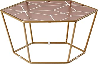 Contemporary Furniture Hexagonal Round Coffee Table in Living Room or Majlis, Bedroom Stained Tempered Glass Frame Gold an...