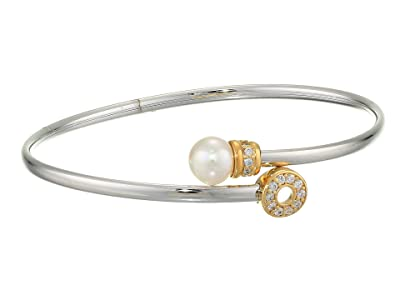 Majorica Giselle Sterling Silver Pearl and CZ Bangle (White/Gold) Bracelet