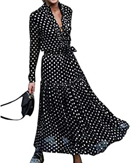 Floryday Women Long Sleeve Maxi Dress V-Neck Polka Dot Print Boho Maxi Dresses Casual Evening Party Summer Beach Dress
