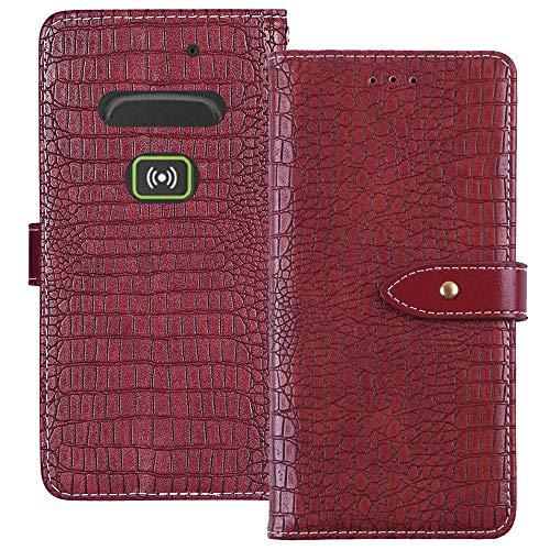 YLYT Flip Hülle Etui Rot Leder Tasche Schutz Hülle Für Doro Secure 580IUP Handy Horizontale Standfunktion Magnetverschluss Strapazierfähiger Cover
