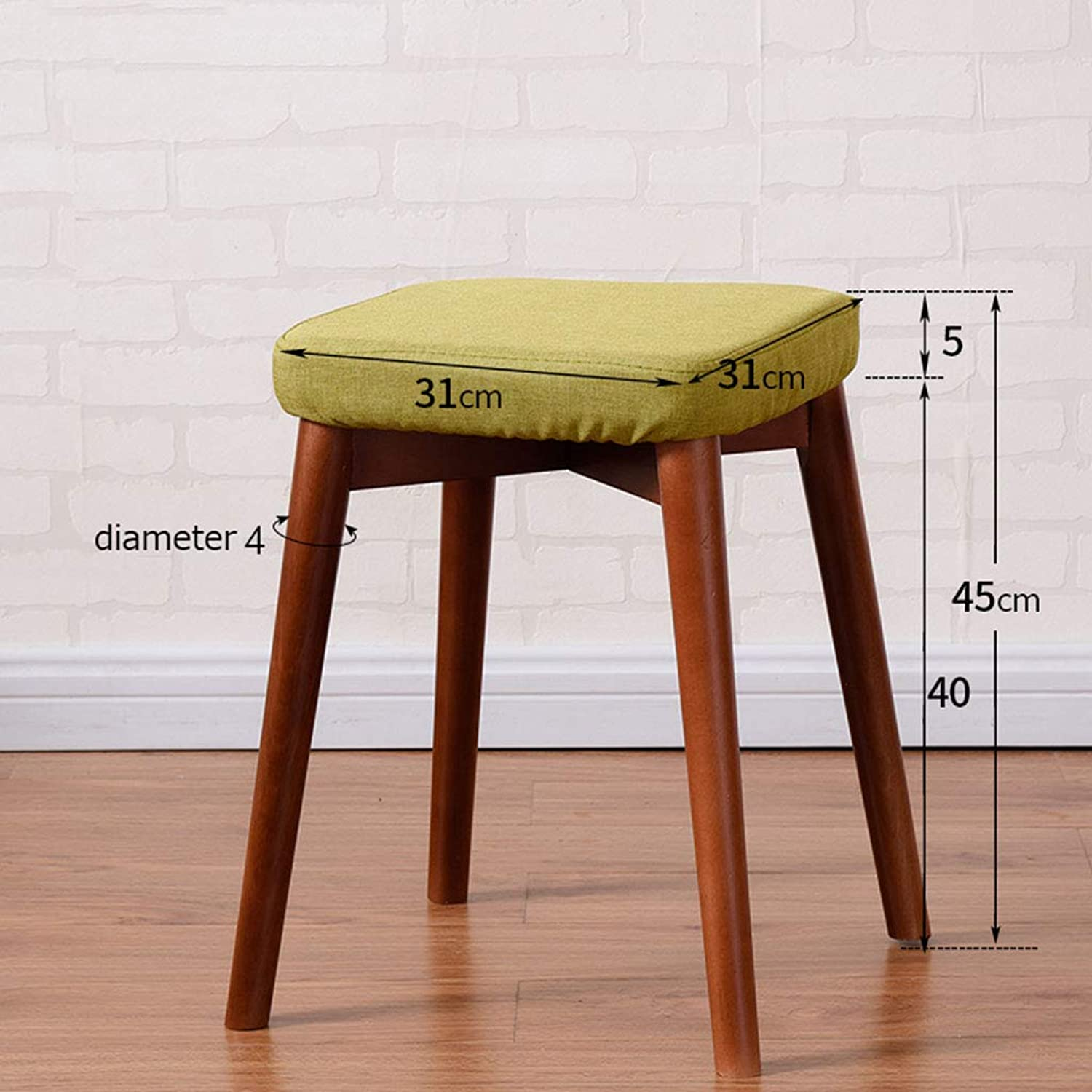 Solid Wood Stool Small Simple Fashion Modern Fabric Soft Square Stool Makeup Chair Home Dining Stool H 45Cm,B
