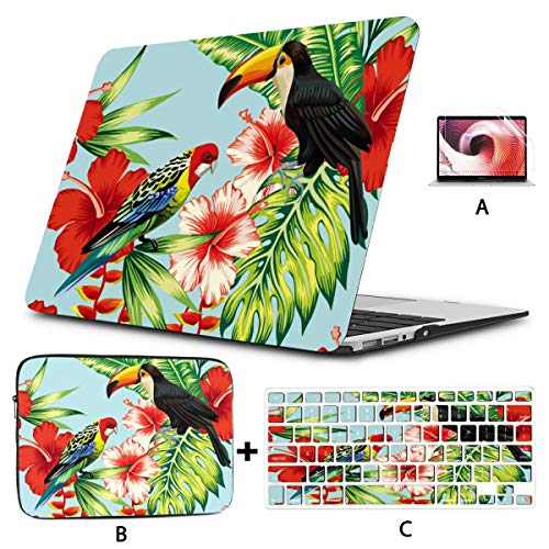 MacBook Air Accessories Tropic Bird Toucan and Multicolor Parrot Laptop Cover Hard Shell Mac Air 11'/13' Pro 13'/15'/16' with Notebook Sleeve Bag for MacBook 2008-2020 Version