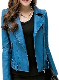 maweisong 女性モトファッションPUフォークスレザージャケットショートコート