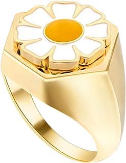 HIIXHC خاتم زهرة المينا للنساء خواتم بيان مكتنزة 18 كيلو الذهب مطلي قبة خاتم رص الفرقة للنساء مجوهرات شخصية