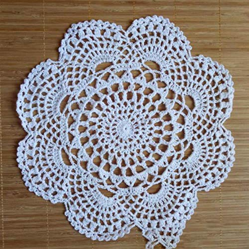 JIAYAN 28CM Redondo Bellamente Hecho A Mano Crochet Flores Posavasos Encaje...