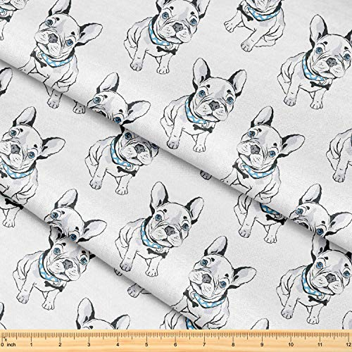 Fabric by The Yard [ 58' inches x 1 Yard ] Decorative Fabric for Sewing Quilting Apparel Crafts Home Decor Accents (French Bulldog Pattern)