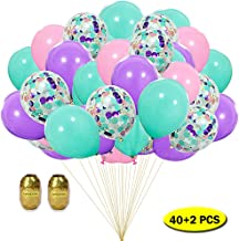 Mity rain Unicorn Balloons - 12 inch Clear Latex Confetti Balloons Purple Pink Blue Assorted Balloon Garland for Graduation Wedding Baby Shower Birthday Party Decoration Supplies with Ribbon (42 Pack)
