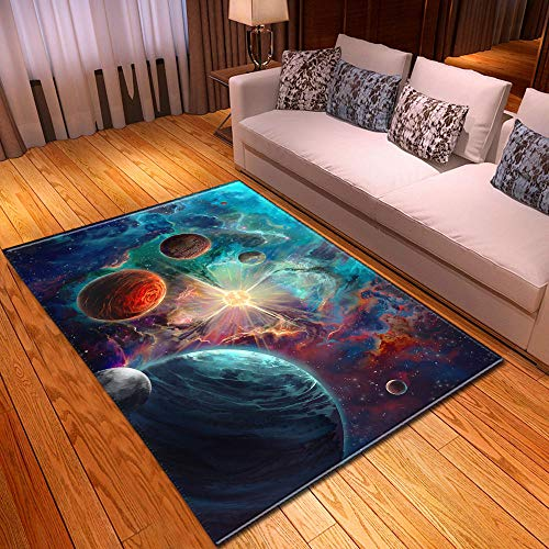 CQIIKJ Alfombra Estampada Planeta Estrellado Azul Verde Naranja Alfombra Antideslizante Alfombra Lavable 80 x 160 cm para la Entrada de casa, baño o Dormitorio Lavandería