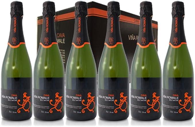 VIÑA ROMALE – Caja Regalo de 6 botellas de Viña Romale Cava Brut Nature Extremeño de Almendralejo (D.O CAVA). Caja de 6 botellas de 75 cl. 100% ARTESANAL: Amazon.es: Salud y cuidado personal