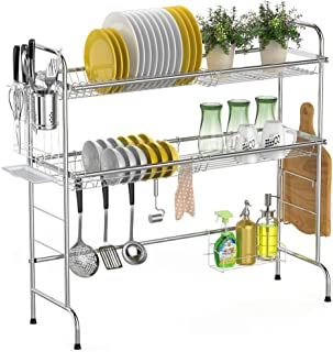 Over the Sink Dish Drying Rack, Chicpack 2-Tier 201 Stainless Steel Dish Rack with Utensil Holder Hooks Stable Bend Foot for Kitchen Counter Non-Slip