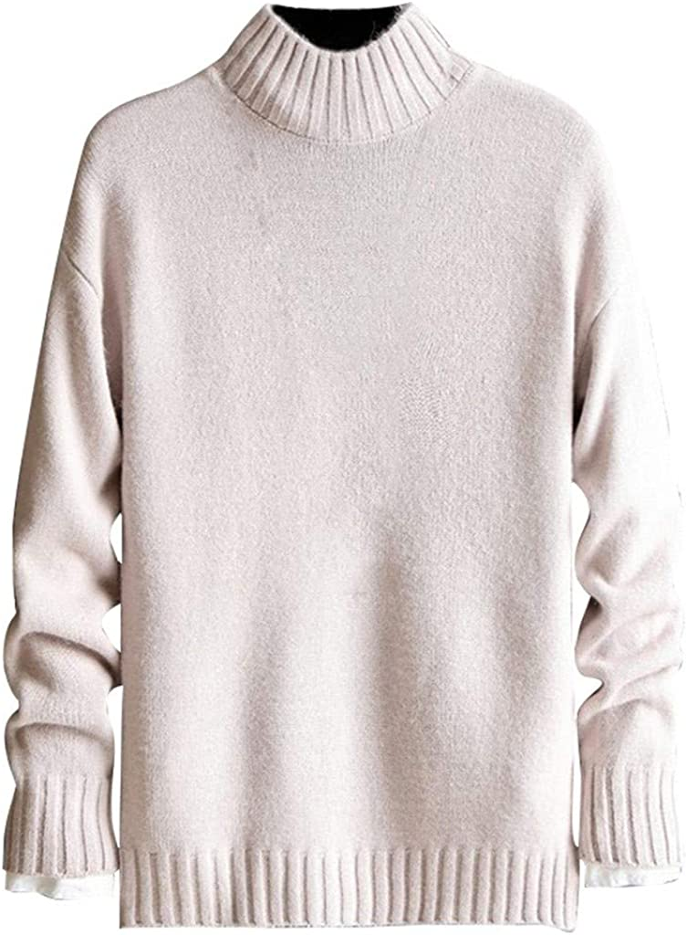 Mens Slim Fit Round Neck Pullover Sweater - NRUTUP Classic Knitted Pullover Sweater, Long Sleeve Winter Work Basic Jumper