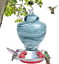 LEADNOVO Hummingbird Feeders for Outdoors, Hand Blown Glass Bird Feeder, Leakproof 38 Ounces Nectar Capacity Hummingbird F...