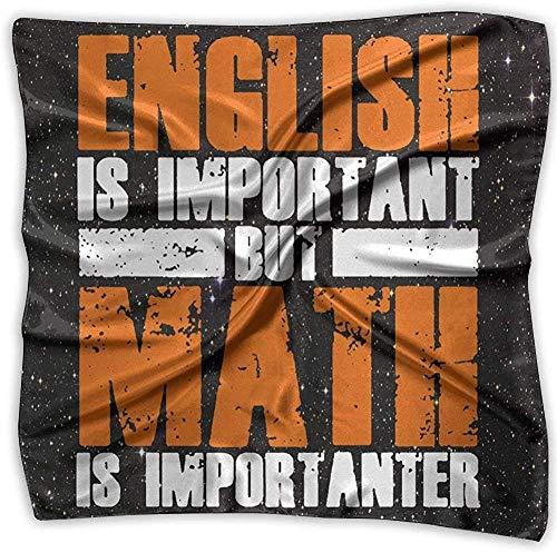 iuitt7rtree Englisch ist wichtig, aber Mathe ist wichtiger Mode Damen Print Square Taschentuch Schal Kopf Wickelhals Satin Schal