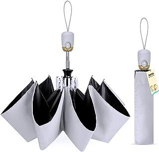 【完全遮光 UPF50+】 日傘 UVカット99% 折りたたみ 傘 ワンタッチ 自動開閉 紫外線遮断 遮熱 レディース メンズ 日傘 折り畳み 頑丈な8本骨 耐風 撥水 晴雨兼用 おりたたみ傘 日焼け防止 熱中症対策 収納ポーチ付き DeliToo