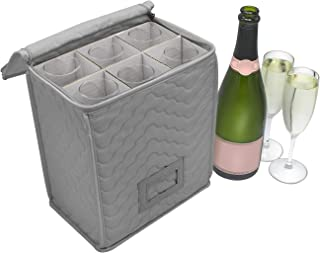 Sorbus Champagne Flute Storage Chest - Deluxe Quilted Case with Dividers - Service for 6 – Great glassware storage for Protecting or Transporting Champagne Flute Glasses (Storage Flute - Gray)
