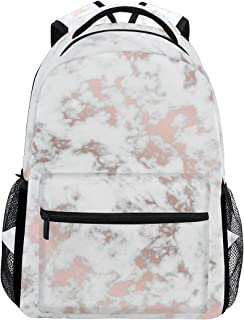 WXLIFE White Marble Rose Gold Backpack Travel Shoulder Bag for Women Men