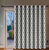 H.VERSAILTEX Extra Wide Blackout Curtain 100x84 Inches Thermal Insulated Curtain for Sliding Glass Door -Grommet Top Patio Door Curtain - Moroccan Tile Quatrefoil Pattern, Dove and White