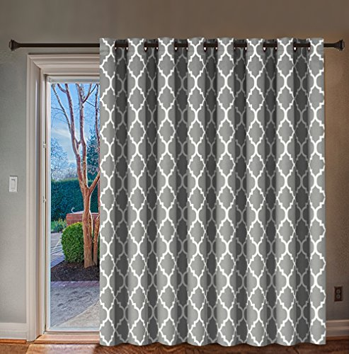 H.VERSAILTEX Extra Wide Blackout Curtain 100x84 Inches Thermal Insulated Curtain for Sliding Glass Door -Grommet Top Patio Door Curtain - Moroccan Tile Quatrefoil Pattern, Smoke Blue and White