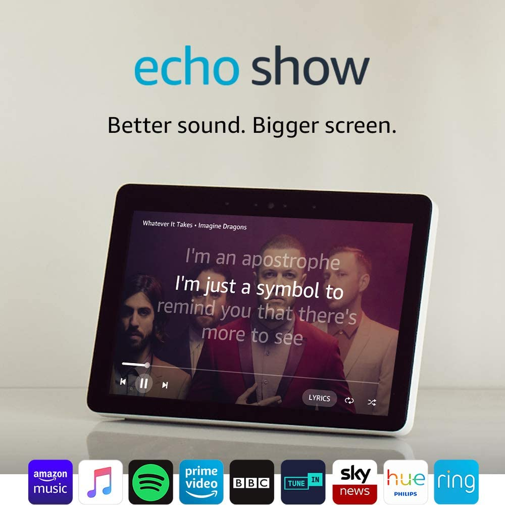"""Certified Refurbished Echo Show (2nd Gen) – Premium Sound and a Vibrant 10"""" HD Screen – Black"""