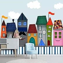 Papel pintado del castillo de la historieta para la habitación de los niños Jardín de infantes Habitación del bebé Decoración del hogar de la pared del dormitorio 430×300cm