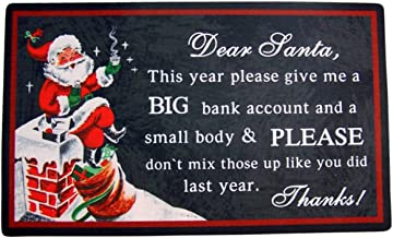 Wowser Big Bank Account and Small BOD Printed Christmas Rubber Door Mat, 29 Inch