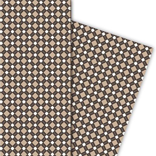 Kartenkaufrausch Elegant cadeaupapierset voor heren, met ruiten, voor leuke geschenkverpakking, 4 vellen, 32 x 48 cm decorpapier, patroonpapier om in te pakken, knutselen, scrapbooking